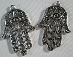 2PCS  Hand of Hamsa Charms  Antique Silver  43x29mm by ZARDENIA, $2.50