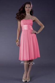 pink tulip chiffon bridesmaid dress with pleated skirt
