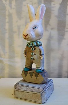 Blue Bunny Rabbit Original Hand Painted Folk by CartBeforeTheHorse
