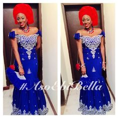Royal Blue Dress & Red Gele