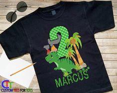 Dinosaur Birthday Shirt Black Dino Birthday Shirt