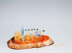 mini metropolises made of food comprise brunch city series