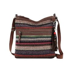 Women's THE SAK Lucia Crochet Crossbody (78 CAD) ❤ liked on Polyvore featuring bags, handbags, shoulder bags, handbag purse, brown handbags, hand bags, brown crossbody purse and man bag