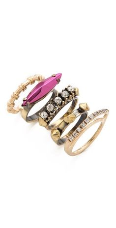Iosselliani Fused Stone Stacking Ring Set