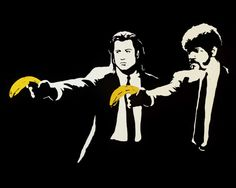 Banksy Pulp Fiction Street Art Grafitti 16 x 20 inch premium canvas print