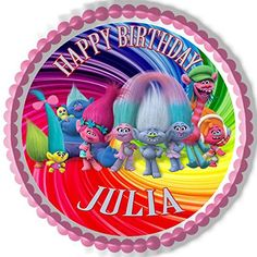 """Trolls Edible Cake Topper & Cake Toppers - 10"""" round Edib... https://www.amazon.com/dp/B0764K8N7Q/ref=cm_sw_r_pi_dp_x_emhcAb34PC280"""