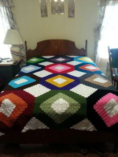 My latest creation. Crocheted bedspread.