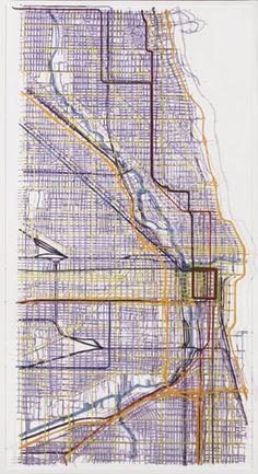 Chicago Duralar, enamel paint, pins, 2007 Prev Next Macro And Micro, Photoshop, Enamel Paint, Art Themes, Cities, Art Ideas, Sculptures, Chicago, Typography
