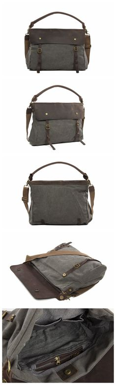 Moshi Wholesale High Quality Canvas Leather Briefcase, Waxed Canvas Tote Bag Messenger Bag