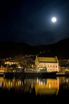 Full Moon over Håkonshallen, Bergen, Norway