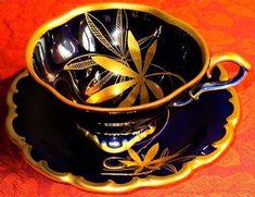 Lindner Kueps Gorgeous LARGE Vintage Cobalt Blue 22k Gold Porcelain Cup & Saucer