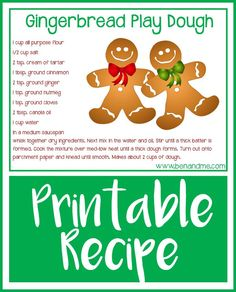 Deliciously scented gingerbread play dough recipe with free printable. Informations About Gingerbrea