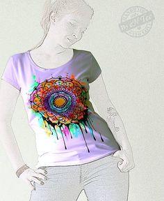 entee / Mandala -maľované dámske tričko