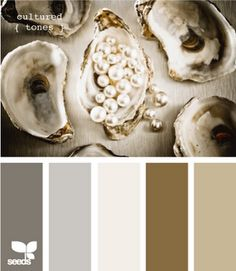 """gray & brown. I agree with this pinner: """"This is the palette I want as the base colors for the house...adding pops of bright colors like azalea red, apple green and a bright mustard yellow."""""""