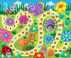 Lunarable Board Game Pet Mat for Food and Water, Various Kinds of Animals Bee Butterfly Ant Ladybug Kids Theme Spring Meadow, Rectangle Non-Slip Rubber Mat for Dogs and Cats, Multicolor Board Game Template, Printable Board Games, Board Game Themes, File Folder Games, Rubber Mat, Banner Printing, Ladybug, Activities For Kids, Illustration
