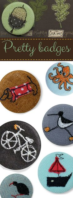 Pretty hand embroidered badges! Great little Father's Day gift! Hand made in Cornwall by Poppy Treffry