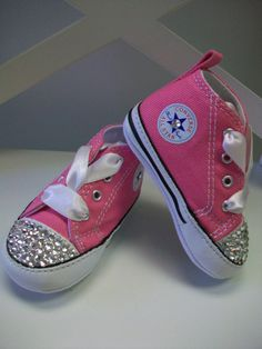 Baby Crib Shoes Pink Converse Bling Rhinestone