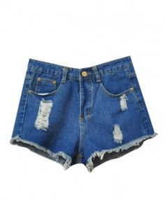 Blue Ripped Tassels Denim Shorts