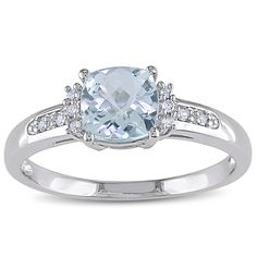 Miadora 10k White Gold Aquamarine and Diamond Ring | Overstock.com Shopping - The Best Deals on Gemstone Rings
