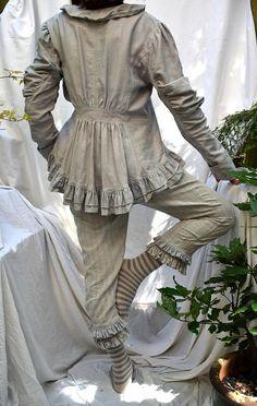 Irish linen lagenlook steampunk jacket in vintage Ulster linen damask, Victorian Edwardian magnolia pearl style shabby boho tailored jacket