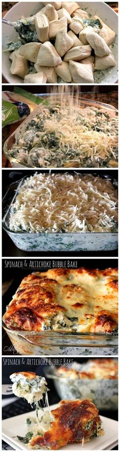 Spinach and Artichoke Bubble Bake 1 container of Pillsbury Grands Flaky Layers Biscuits count) 3 cups of Frozen and defrosted Spinach 2 Cups Shredded Mozzarella (divided in half) 1 can of Artichoke Hearts container of Cream Cheese cup Grated P I Love Food, Good Food, Yummy Food, Great Recipes, Dinner Recipes, Favorite Recipes, Vegetarian Recipes, Cooking Recipes, Healthy Recipes