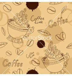 Seamless pattern with cup coffee beans and blots vector by Anawhite on VectorStock®
