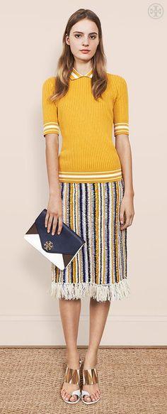 Crochet & Fringe: Hand woven stripes and chic raffia tassels for a bohemian feel   Tory Burch Spring 2015