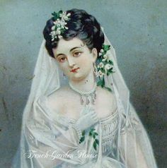 Image detail for -Antique Victorian Bride Wedding Print Gilt Frame