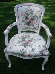 Shabby chic cottage pholstered chair in rose chintz...too adorable!