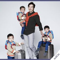 song il gook with triplets Superman Cast, Song Il Gook, Cute Babies, Baby Kids, Man Se, Song Daehan, Song Triplets, Asian Love, Celebrity Dads