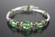 Light Green Swarovski Crystal Wrap Bracelet, Christmas Gift Under 30 40 by PearlTwinkle