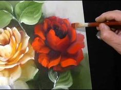 45 Ideas Painting Rose On Canvas Acrylic Painting Flowers, Acrylic Painting For Beginners, Painting Videos, Painting Lessons, Tole Painting, Acrylic Art, Painting Tips, Art Lessons, Painting & Drawing