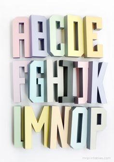 3D Alphabet Templates~입체 알파벳 종이로 만들어 장식해요~ : 네이버 블로그