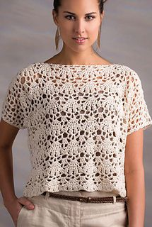 Venice Lace Top pattern by NT Magliaworked with DROPS Cotton Light