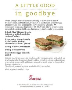 Chick-fil-A Chicken Salad recipe (since they're retiring it on Sept. Chik Fil A Chicken Salad Recipe, Chickfila Chicken Salad, Chicken Sandwich Recipes, Chick Fil A Kale Salad Recipe, Chick Fil A Coleslaw Recipe, Sandwich Ideas, Salad Sandwich, Keto Chicken, Kale Salad Recipes