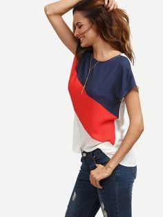 Romwe Women's Color Block Blouse Short Sleeve Casual Tee Shirts Tunic Tops Cap Sleeve Top, Short Sleeve Blouse, Cap Sleeves, Moda Chic, Womens Fashion Casual Summer, Fashion Women, Women's Fashion, Ideias Fashion, Tunic Tops
