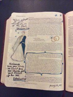 Bible journaling/ Ephesians 5:20-31/ Ephesians Bible journaling/ marriage