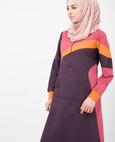A sunny jilbab in plum perfect purple with electrifying contrast stripes, made from twill and cotton jersey. Fabric: twill and cotton jersey Colour: Purple Size: 52 Regular Abayas, Dress Styles, Sunnies, Fashion Dresses, Stripes, Purple, Fabric, Cotton, Tejido