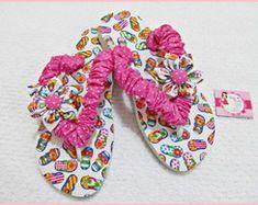 chinelo havaianas customizado em tecido