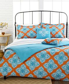 orange and teal duvet cover | Romeo 5 Piece Comforter and Duvet Cover Sets