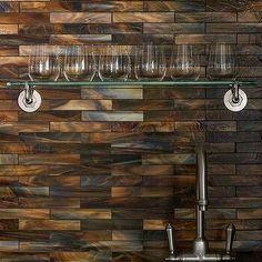 Superb Wet Bar With Shimmery Coppery Tiles Backsplash, Transitional, Living  Room