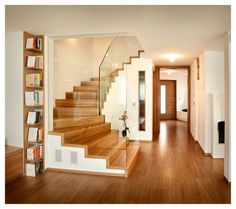 Folding stairs with glass balustrade – rustic home interior Wooden Staircase Design, Wooden Staircases, Wooden Stairs, Modern Staircase, Glass Stairs, Concrete Stairs, Staircase Remodel, Staircase Railings, Glass Stair Balustrade