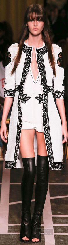 A bodysuit with a coat! I don't know if I'd have the guts to wear this but love it so much! Givenchy Spring 2015 ᘡղbᘠ