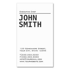 Chef cool stainless steel metal business card steel metal simple plain white chef business card reheart Image collections