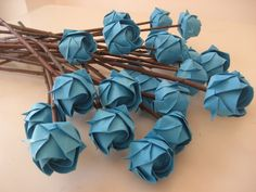 valentine roses table centrepieces origami roses on natural sticks   £24.00 - Mel's origami studio