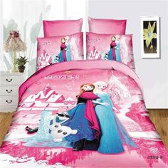 Frozen Elsa bedding sets single twin size pink disney princess duvet cover sweet girl kids bed linens cartoon home textiles