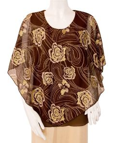 Golden Roses on Brown Poncho Tops Plus sizes available $33 Golden Roses, Gold Skirt, Poncho Tops, Gold Top, Rose Gold, Plus Size, Elegant, Blouse, Brown