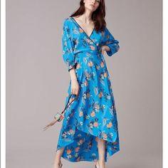 Dvf Asymmetrical Hem Silk Floral Dress
