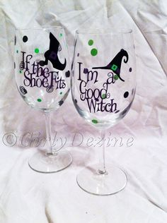 Halloween Wine Glasses by GirlyDezine on Etsy, $11.00
