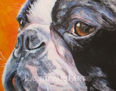 """A Boston Terrier Dog art portrait print of an LA Shepard painting 11x14"""". Here's a wonderful tribute to your best friend and favorite breed- the Boston Terrier! from an original painting by L.A.Shepard, whose unique, beautiful work has been collected around the world. Your print will be individually signed under the image by the artist, and initialed on the image. Copyright text is for display purposes only and will not appear on your artwork. The image is 11x14 inches and is printed on..."""